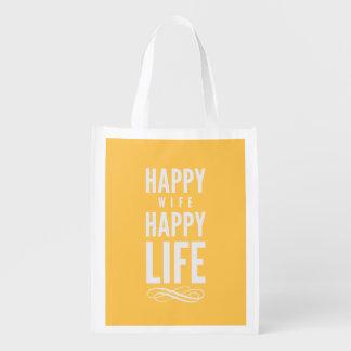 Happy Wife Happy Life Yellow Market Totes