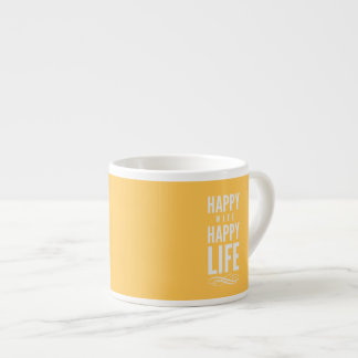 Happy Wife Life Marriage Quote Yellow Espresso Cup