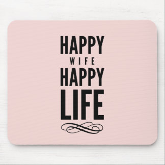 Happy Wife Typographic Quote Pink Mouse Pad