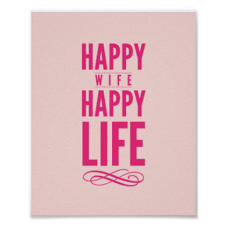 Happy Wife Typographic Quote Print in Hot Pink