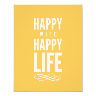 Happy Wife Typographic Quote Yellow Art Photo