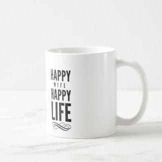Happy Wife Typography Quotes White Coffee Mug