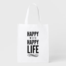 Happy Wife Wise Words Quote White Grocery Bag