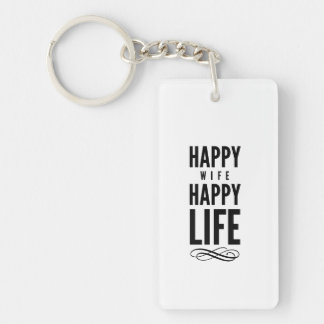 Happy Wife Wise Words Quote White Keychain