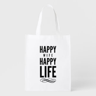 Happy Wife Wise Words Quote White Market Tote