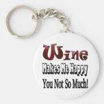Happy Wine Basic Round Button Keychain