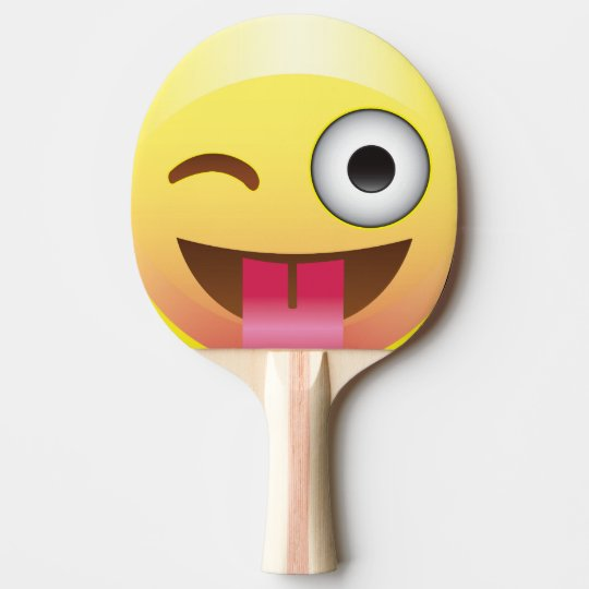 Happy Wink Tongue Out Emoji Ping Pong Pattle Ping-Pong ...