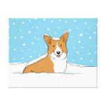 Happy Winter Snow Corgi - Cute Dog Cartoon Canvas Print