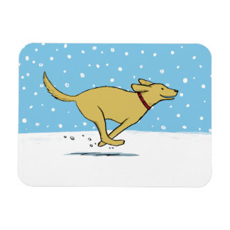 Happy Winter Snow Dog Holiday - Yellow Lab Magnet