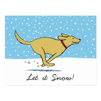 Happy Winter Snow Dog Holiday - Yellow Lab Postcard