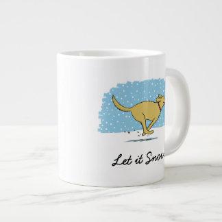 Happy Winter Snow Dog - Let it Snow - Customizable 20 Oz Large Ceramic Coffee Mug