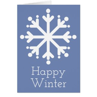 Happy Winter Snowflake on Blue Personalized Card