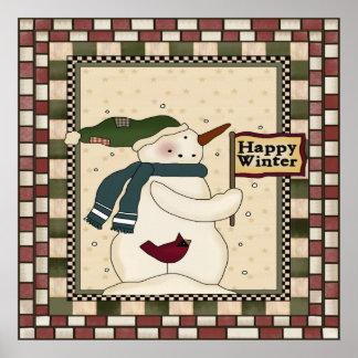 Happy Winter Snowman Poster