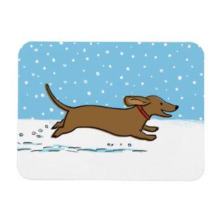 Happy Winter Wiener Dog - Dachshund Holiday Magnet
