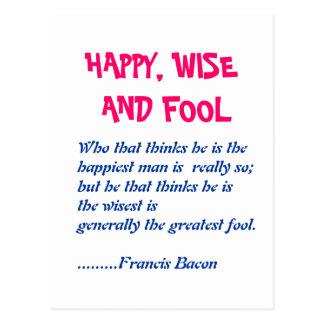 HAPPY WISE n FOOL :  Wisdom Words Postcard