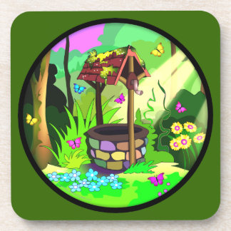 Happy Wishing Well Magic Forest Circle Green Coasters