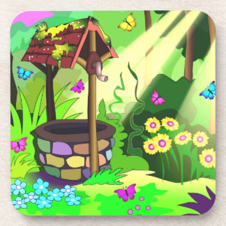 Happy Wishing Well Magic Forest Sun Butterflies Beverage Coaster