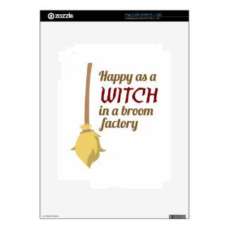 Happy Witch Broom Factory Halloween Design Decals For iPad 2