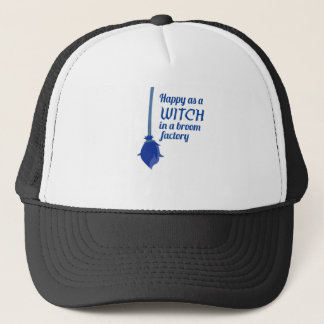 Happy Witch Broom Factory Halloween Design Trucker Hat