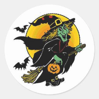 Happy Witch Classic Round Sticker