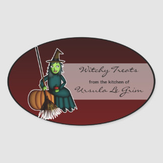 Happy Witch, halloween baking labels Oval Sticker