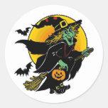 Happy Witch Round Stickers