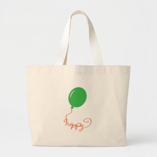 Happy with a green balloon large tote bag