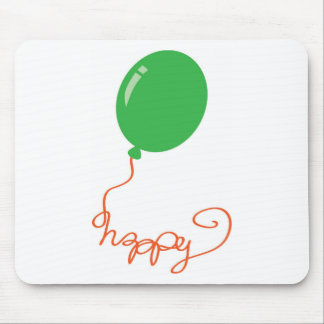 Happy with a green baloon mouse pad