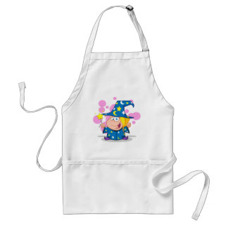 Happy Wizard Girl Waving With Magic Wand Adult Apron