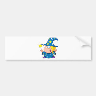 Happy Wizard Girl Waving With Magic Wand Bumper Stickers