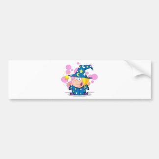 Happy Wizard Girl Waving With Magic Wand Bumper Sticker