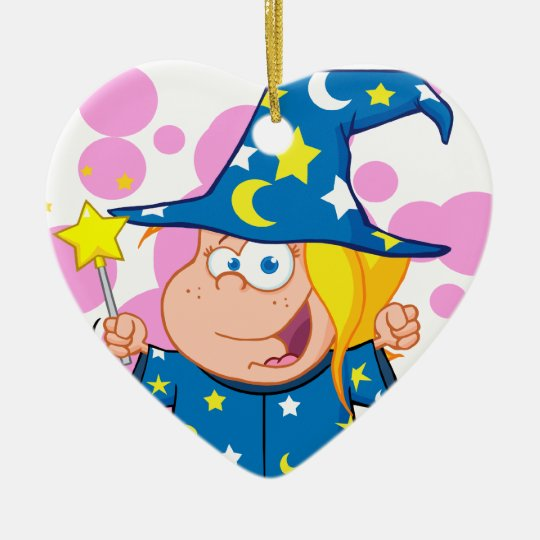 Happy Wizard Girl Waving With Magic Wand Ceramic Ornament