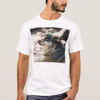 Happy Wolf Portrait, Animal Photography T-Shirt