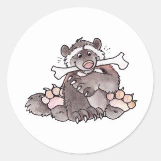 Happy Wolverine Round Stickers