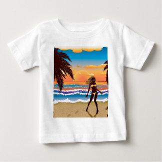 Happy woman on beach baby T-Shirt