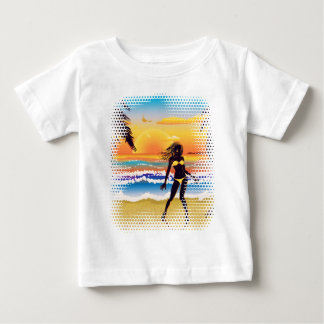 Happy woman on beach baby T-Shirt