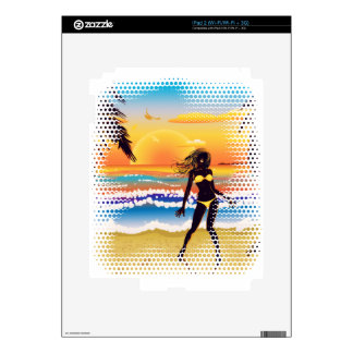 Happy woman on beach decals for iPad 2