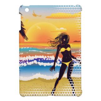 Happy woman on beach iPad mini cases