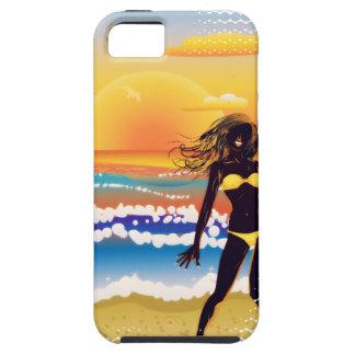 Happy woman on beach iPhone SE/5/5s case