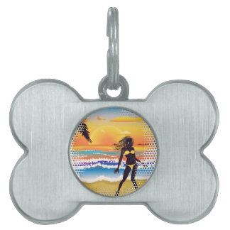 Happy woman on beach pet name tag