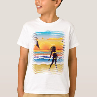 Happy woman on beach T-Shirt