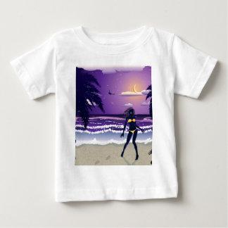 Happy woman on night beach baby T-Shirt
