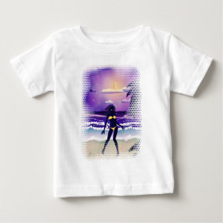 Happy woman on night beach baby T-Shirt