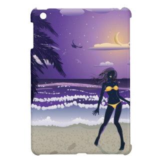 Happy woman on night beach cover for the iPad mini