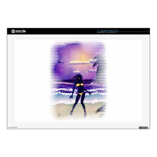 Happy woman on night beach decals for laptops