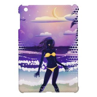 Happy woman on night beach iPad mini cover