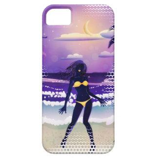 Happy woman on night beach iPhone SE/5/5s case
