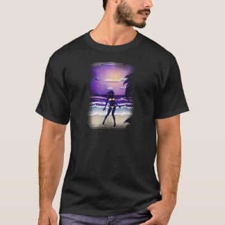 Happy woman on night beach T-Shirt