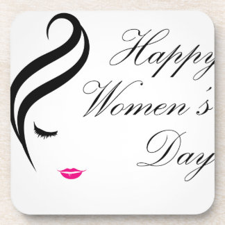 Happy womens day card with face of a lady beverage coaster