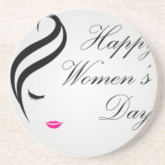 Happy womens day card with face of a lady drink coaster